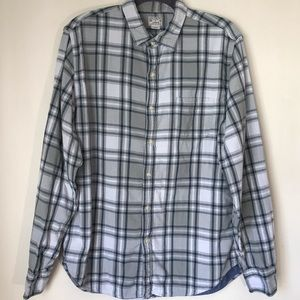 J. Crew Men's 2 Ply Plaid Button Down Shirt-Large